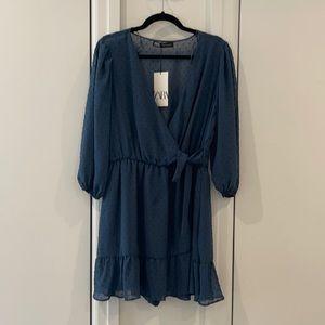 Blue Zara dress with tie wrap waist